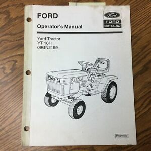Ford New Holland Yt 16h Yard Lawn Tractor Operator Manual Operation Maintenance