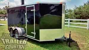 New 2021 7 X 16 7x16 V nosed Enclosed Cargo Motorcycle Trailer Ramp Side Door