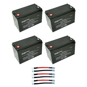 Windy Nation 12v 100 Ah Deep Cycle Solar Off Grid Battery With Cables 4 Pack