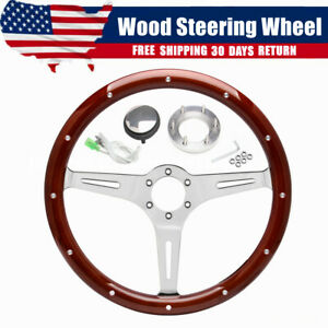 14 Inch Classic Wood Steering Wheel Riveted 3 Spoke With Horn For Chevy Ford Gmc Fits Mg