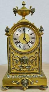 Antique 19thc French 8 Day Bell Striking Bronze Silvered Ornate Mantel Clock