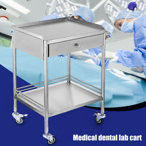 Medical Trolley Mobile Rolling Cart Drawer Stainless Steel Dental Lab Equipment