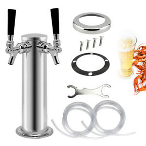 Silver Double Tap Draft Beer Tower Stainless Steel Bar Pub Kegerator Dual Faucet