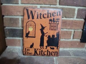 Primitive Style Witch Sign Witchen In The Kitchen Hp Bittersweet Orange