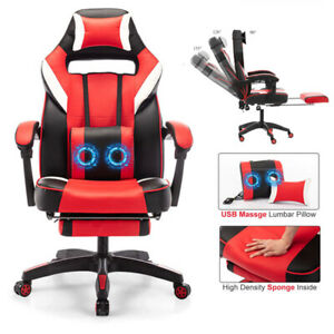 Ergonomic Office Chair Height Adjustable Back Massage Footrest Desk Gaming Chair