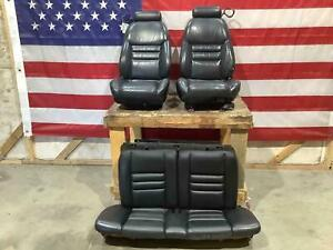 94 98 Ford Mustang Coupe Leather Seat Set Front Rear Black 4j