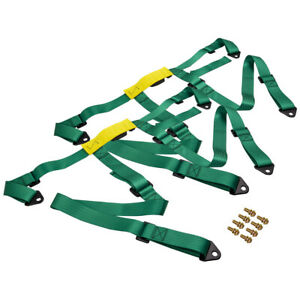 1pair Universal 4 Point 2 Safety Strap Harness Racing Seat Belt Mounting Green