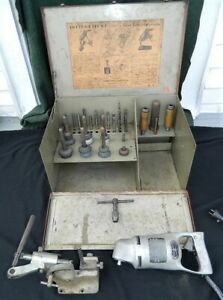New Listingvintage Sioux Valve Seat Grinder Set With Stand Stones Pilots Holders Case Ect