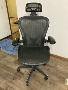 Herman Miller Aeron Chair C Size Fully Loaded With Aftermarket Headrest