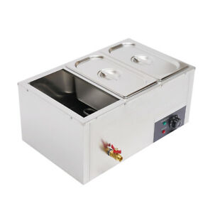 Commercial Grade Stainless Steel Bain Marie Buffet Food Warmer Steamer With Lids