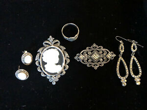 Vtg Sterling Silver 925 Jewelry Marcasite Lot