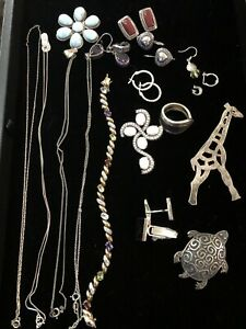 Vtg Now Sterling Silver 925 Jewelry Lot Wearable