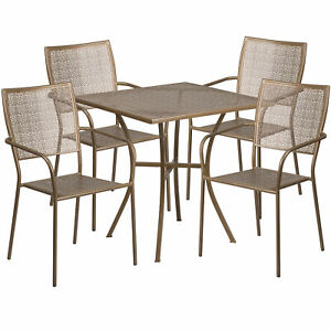 28in Square Steel Patio Table Set With 4 Square Back Chairs Gold Co28sq02chr4gd