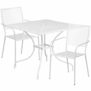 35 1 2in Square Steel Patio Table Set With 2 Square Back Chairs White
