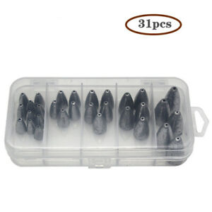 31 box Fishing Bullet Weights Sinker Kit Worm Weights Sinkers for Bass Fishing $28.99