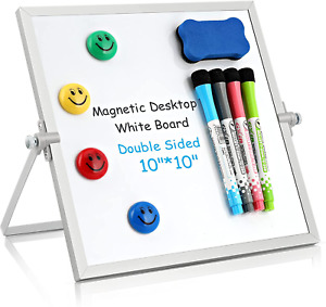 Dry Erase White Board Small Magnetic Desktop Whiteboard 10 x10 With Stand
