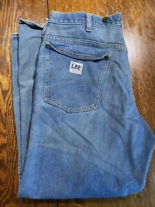 Vintage Lee Men Denim Work Jeans Made In USA Distressed Suspenders Buttons 34x28 $26.95