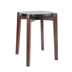 18in Solid Wood Stacking Stool Round Dining Chair Backless Furniture Home Decor