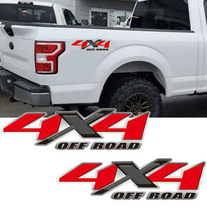 2x Chrome Red 4x4 Off Road Truck Bed Decal Vinyl Sticker For Ford F150 F250 F350