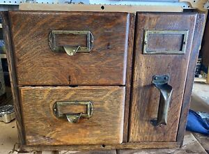 Antique Shaw Walker Sectionets Oak Stacking File Cabinet Section