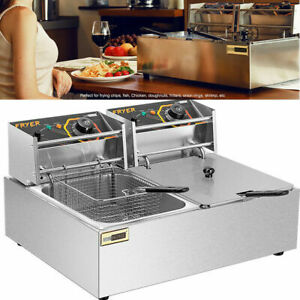 5000w Electric Commercial Deep Fryer Stainless Steel Dual Tank 19 6l 20 7qt
