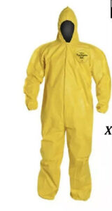 Box Of 11 Dupont Tychem 2000 Yellow Coverall W hood Size Xxl Qc122syl2x001200