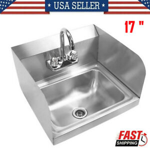 17 commercial Hand Sink Stainless Steel Wall mounted Washing Sink side Splashes