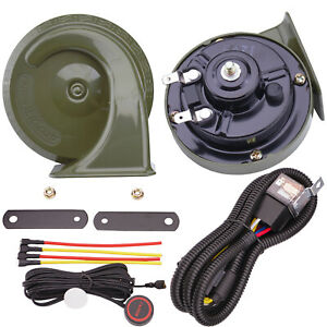 12v Electric Car Horn Kit With Relay Harness Button Snail Horns For Motorcycle
