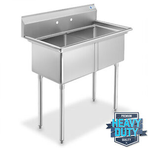 Open Box 2 Compartment Stainless Steel Commercial Kitchen Prep Utility Sink