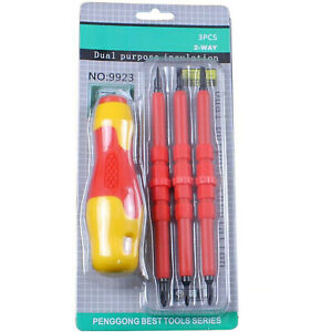 4pc 500v Insulated Screwdriver Set Magnetic Tips Electrician Slotted Phillips