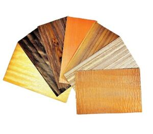 Exotic Mixed Wood Veneer Variety Pack 3 Sq Ft Raw unbacked Roughly 6 Sheets