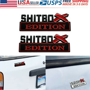 2pcs Shitbox Edition Emblem Decal Badge Stickers For Gm Gmc Chevy Car Truck