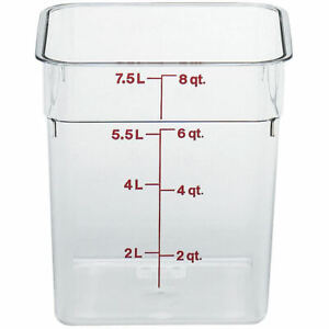 Cambro 8 Qt Camsquare Food Storage Containers 6pk Clear 8sfscw 135