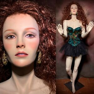 Vintage Realistic Full Female Mannequin Freckles Teeth Life Size Window Pose