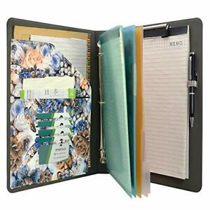 Flower Painting Pu Leather Padfolio Ring Binder With Color File Folders Organ