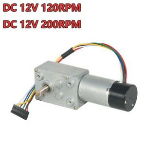 Dc12v 120rpm Turbo Worm Gear Box High Torque Geared Reduction Motor With Encoder