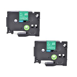 2pk Compatible Brother P touch Tz 735 Tze 735 White On Green Label Tape 12mm