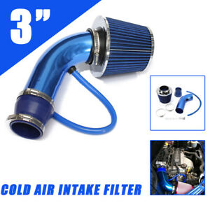 Universal 3 Auto Cold Air Intake Filter Alumimum Induction Kit Pipe Hose System