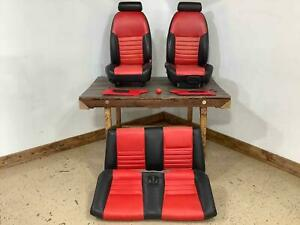 94 04 Ford Mustang Convertible Custom Seat Set Black Red See Description