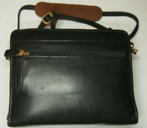 Franklin Covey Compact Black Nappa Leather 1 3 4 Ring Zip Binder W Strap