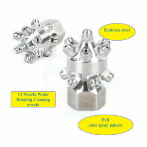 Stainless Solid Cone Nozzle Tank Wash Nozzle Water Rotating Cleaning 13x Nozzles