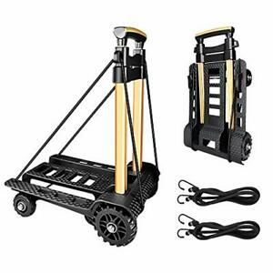 Folding Hand Truck Portable Dolly Compact Utility Luggage Cart With Black