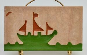 Vintage Sail Boat Tile Piece From The 1940 S