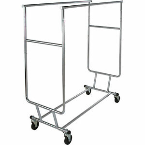 Econoco Double Rail Collapsible Rolling Clothing Rack Chrome 65inhx48inw