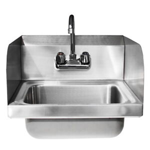 17 Commercial Wall Mounted Kitchen Hand Wash Sink Stainless Steel W Faucet Us