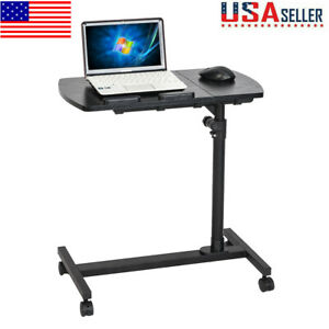 Adjustable Height Stand Up Laptop Table Office Rolling Computer Desk Workstation