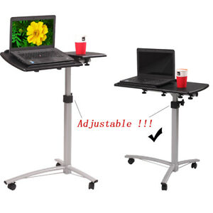 Adjustable Height Lift Computer Desk Rolling Stand up Laptop Table With Wheel Us