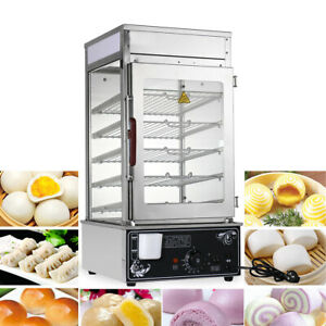 Electric 5 Layer Steamer 60 Buns Bread Warmer Machine Food Cooker Display Case