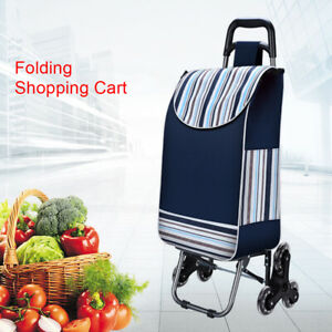 Usa Folding Shopping Cart Grocery Laundry Travel Trolley Wheels bag bungee Cord