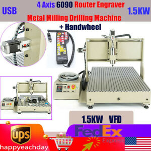 Usb 4 Axis 6090 Cnc Router Engraver Engraving Milling Machine 3d Cutter 1500w rc